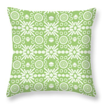 Cilantro- Green And White Art By Linda Woods Throw Pillow