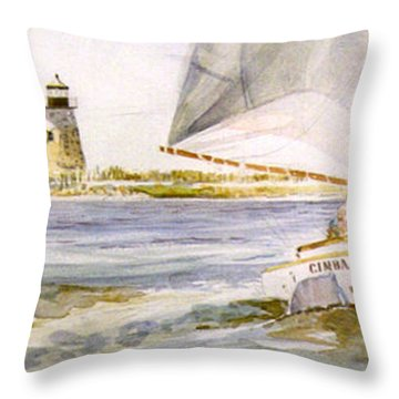 Cimba At Bird Island Light Throw Pillow