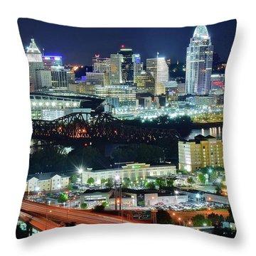 Cincinnati And Covington Collide Throw Pillow