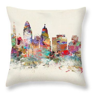 Cincinnati City Skyline Throw Pillow