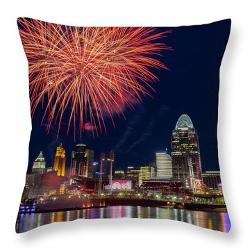 Cincinnati Fireworks Throw Pillow by Scott Meyer