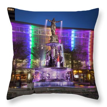 Cincinnati Fountain Square Throw Pillow by Scott Meyer