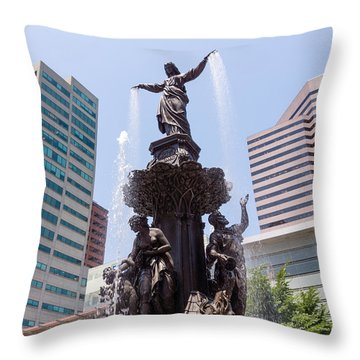 Cincinnati Fountain Tyler Davidson Genius Of Water Throw Pillow by Paul Velgos