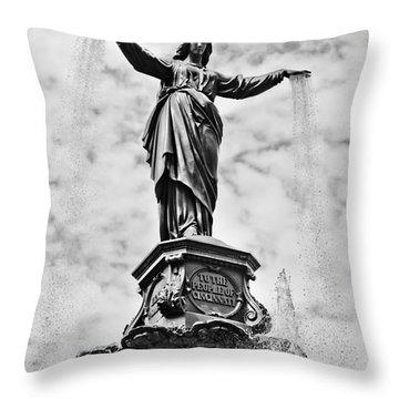 Cincinnati Fountain Tyler Davidson Genius Of Water Statue Throw Pillow by Paul Velgos