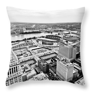 Cincinnati Skyline Aerial Throw Pillow by Paul Velgos