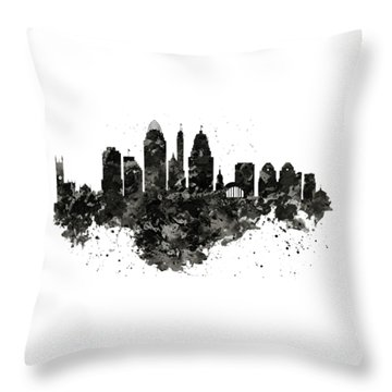 Throw Pillow featuring the mixed media Cincinnati Skyline Black And White by Marian Voicu