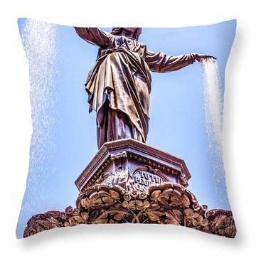Cincinnati Tyler Davidson Fountain Genius Of Water  Throw Pillow by Paul Velgos