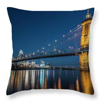 Cincinnati's Roebling Suspension Bridge At Dusk Throw Pillow