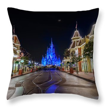 Cinderella Castle Glow Over Main Street Usa Throw Pillow