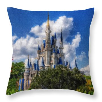 Cinderella Castle Summer Day Throw Pillow
