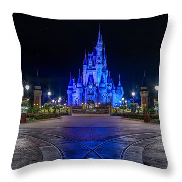 Cinderellas Castle Glow Throw Pillow