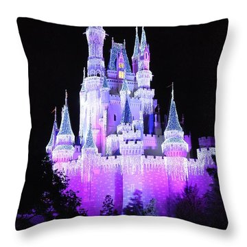 Cinderella's Holiday Castle Throw Pillow