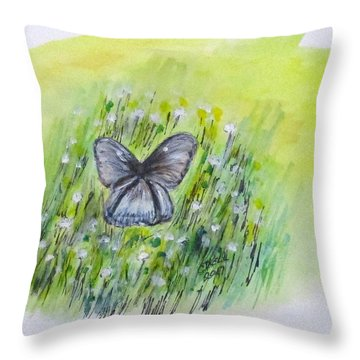Throw Pillow featuring the painting Cindy's Butterfly by Clyde J Kell
