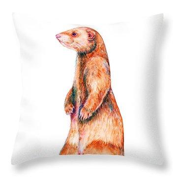 Throw Pillow featuring the painting Cinnamon Ferret by Zaira Dzhaubaeva