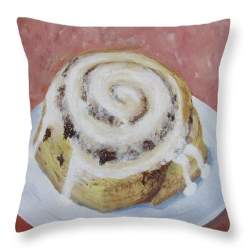 Throw Pillow featuring the painting Cinnamon Roll by Nancy Nale