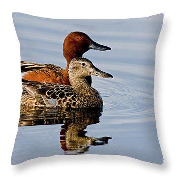 Cinnamon Teal Pair Throw Pillow