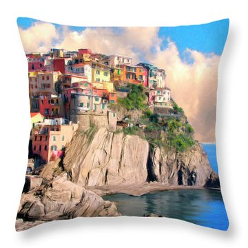 Cinque Terre Throw Pillow by Dominic Piperata