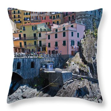 Cinque Terre Harbor And Town Throw Pillow by Roger Mullenhour