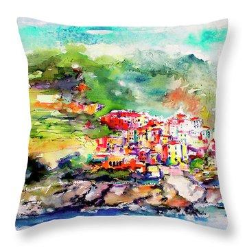 Cinque Terre Italy Corniglia Travel Memories Throw Pillow