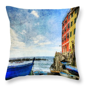 Cinque Terre - Little Port Of Riomaggiore - Vintage Version Throw Pillow