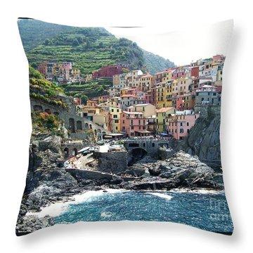 Cinque Terre Manarola Throw Pillow by Marilyn Dunlap