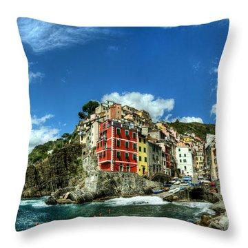 Cinque Terre - View Of Riomaggiore Throw Pillow