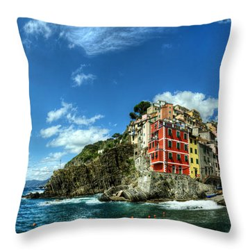 Cinque Terre - View Of Riomaggiore Throw Pillow