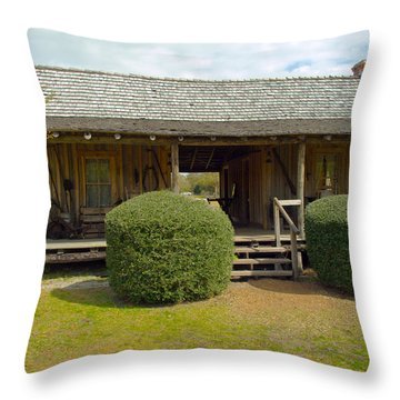 Circa 1900 Dogtrot Cabin Of Ephriam Brown From Lake Mills Florida Throw Pillow by Allan  Hughes