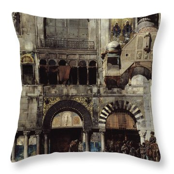 Circassian Cavalry Awaiting Their Commanding Officer At The Door Of A Byzantine Monument Throw Pillow by Alberto Pasini