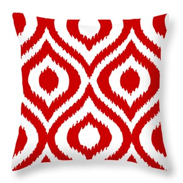 Circle And Oval Ikat In White T02-p0100 Throw Pillow