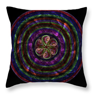 Throw Pillow featuring the digital art Circle Flower by Angie Tirado