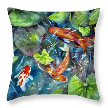 Throw Pillow featuring the painting Circle Of Koi by Mary McCullah