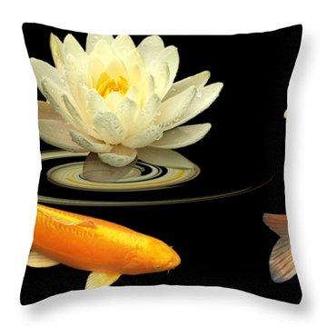 Circle Of Life - Koi Carp With Water Lily Throw Pillow