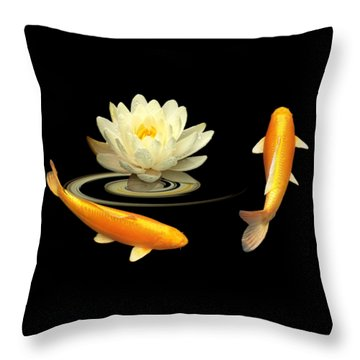 Circle Of Life - Koi Carp With Water Lily Throw Pillow