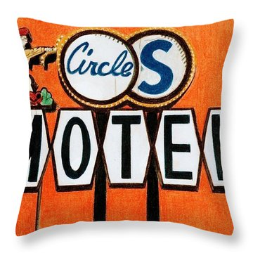 Circle S Motel Throw Pillow