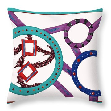 Throw Pillow featuring the mixed media Circle Time by Robert Margetts