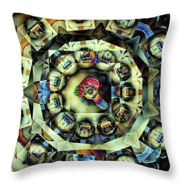 Throw Pillow featuring the digital art Circled Squares by Ron Bissett