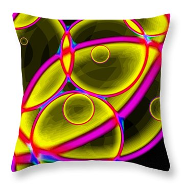 Throw Pillow featuring the digital art Circles by Lola Connelly