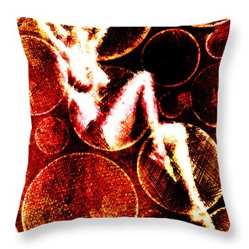 Throw Pillow featuring the digital art Circles Nudity by Andrea Barbieri
