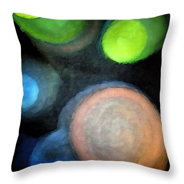 Circles Of Light Throw Pillow by Saad Hasnain