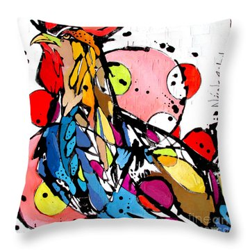 Circles The Rooster Throw Pillow