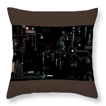Circuit Board Throw Pillow by Carol Crisafi
