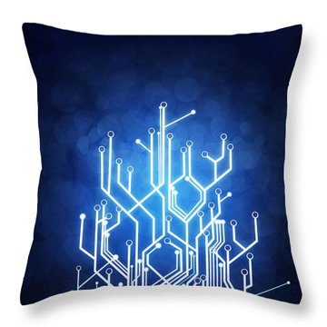 Circuit Board Technology Throw Pillow