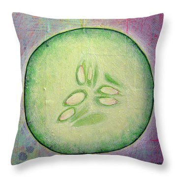 Circular Food - Cucumber Throw Pillow