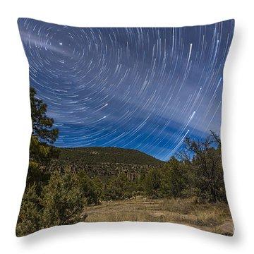 Circumpolar Star Trails Over The Gila Throw Pillow