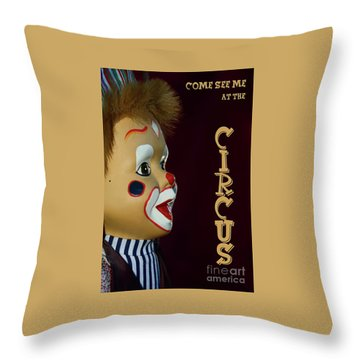 Throw Pillow featuring the photograph Circus Clown By Kaye Menner by Kaye Menner