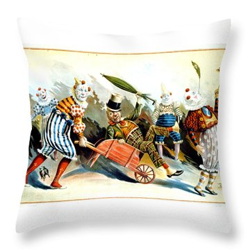 Circus Clowns - Vintage Circus Advertising Poster Throw Pillow
