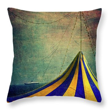 Circus With Distant Ships II Throw Pillow by Silvia Ganora