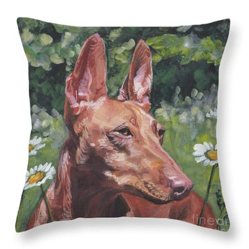 Throw Pillow featuring the painting Cirneco Dell'etna by Lee Ann Shepard