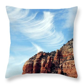 Throw Pillow featuring the photograph Cirrus Clouds Over The Mesa by Lynda Lehmann